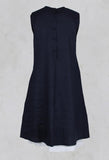 Linen Dress with Bow Front in Navy