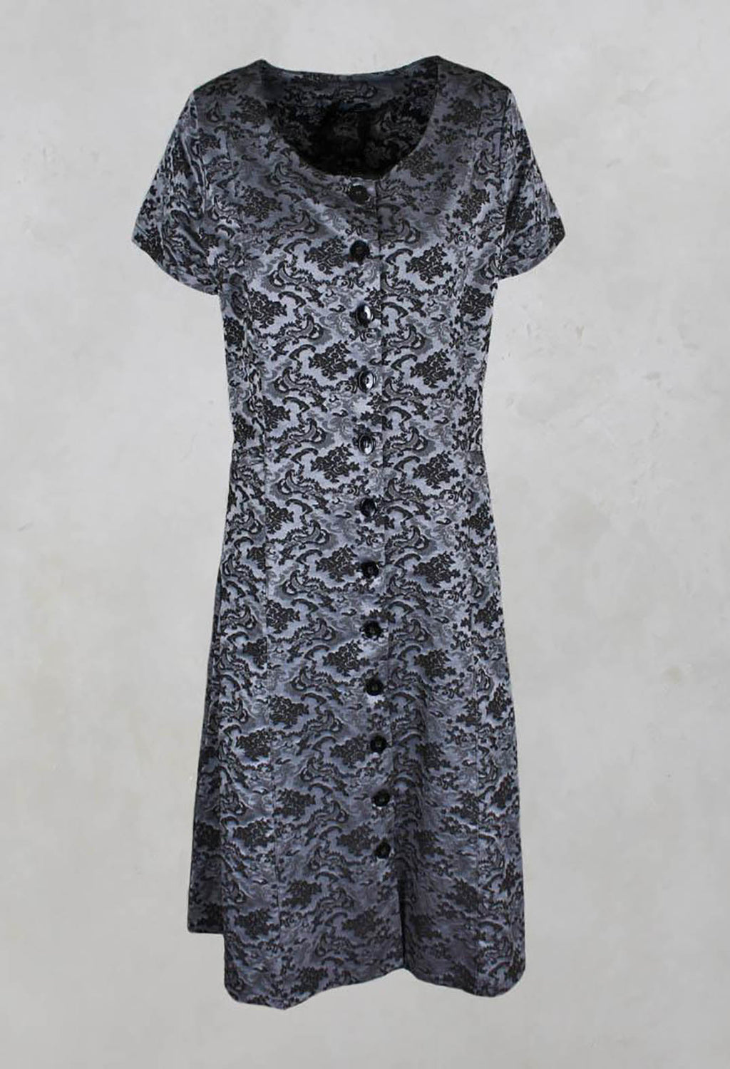 Button Floral Jacquard Dress in Black