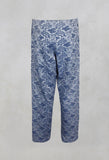 Floral Jacquard High Waisted Trousers in indigo