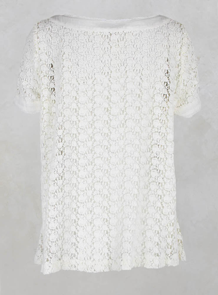 Short Sleeved Crochet Lace Top in Ecru