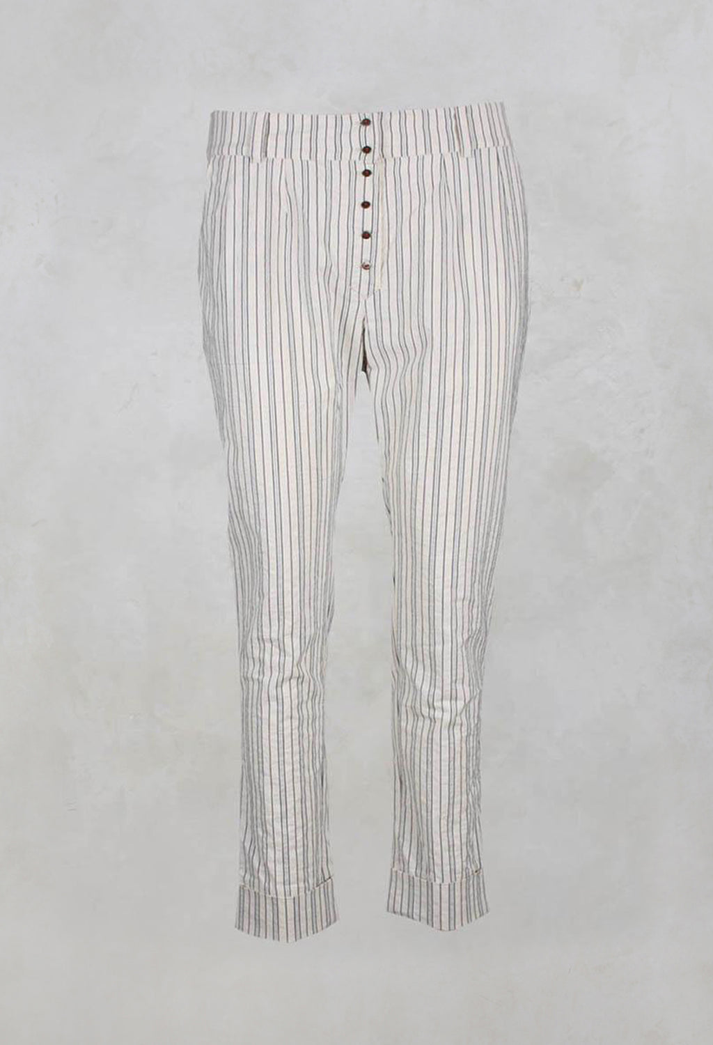 Straight Leg Trousers with Navy Stripe in Raye