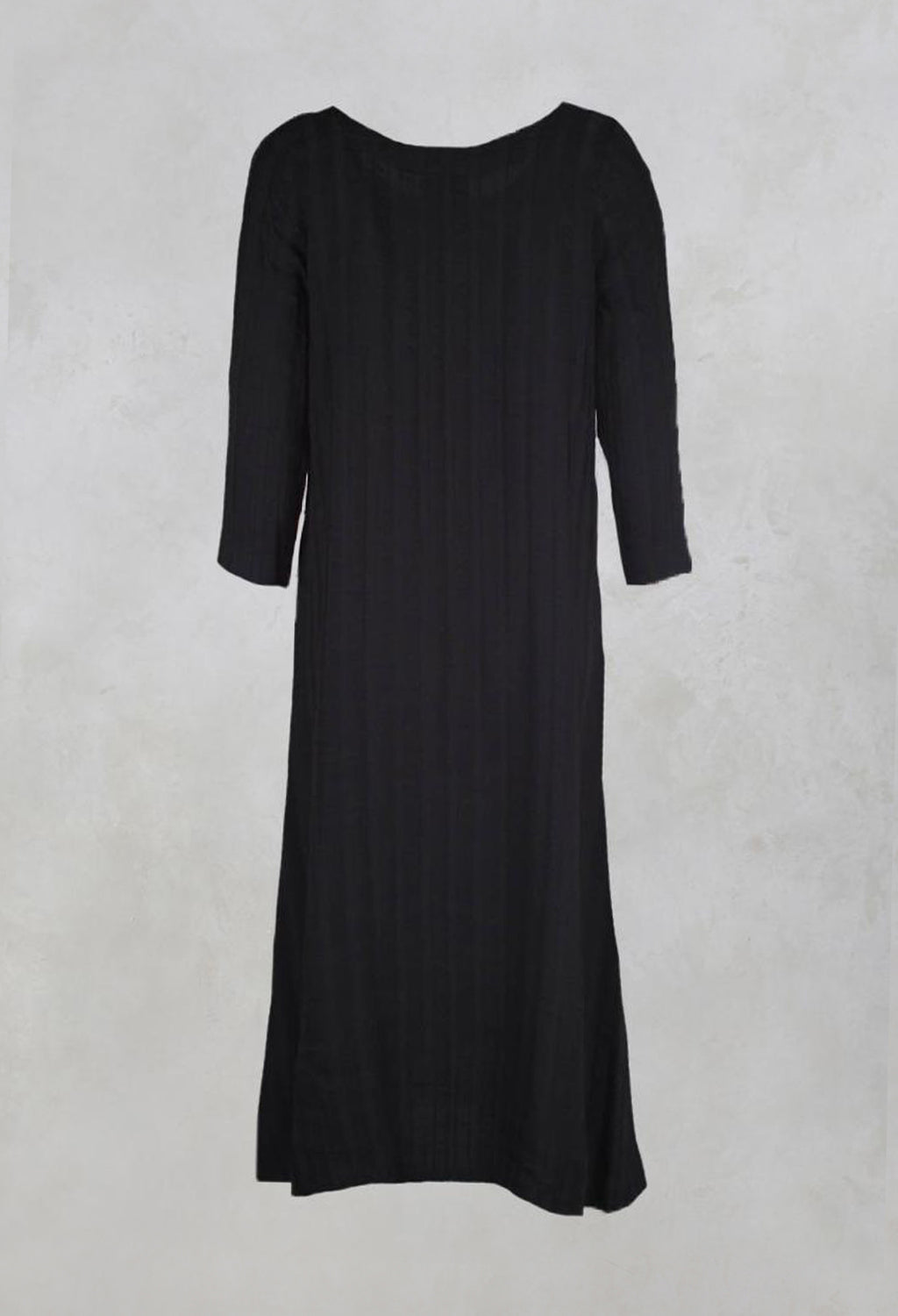 Plain Dress with Stitched Stripe in Black