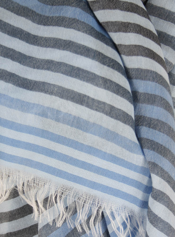 Striped Cotton Mix Scarf in Blue Mix