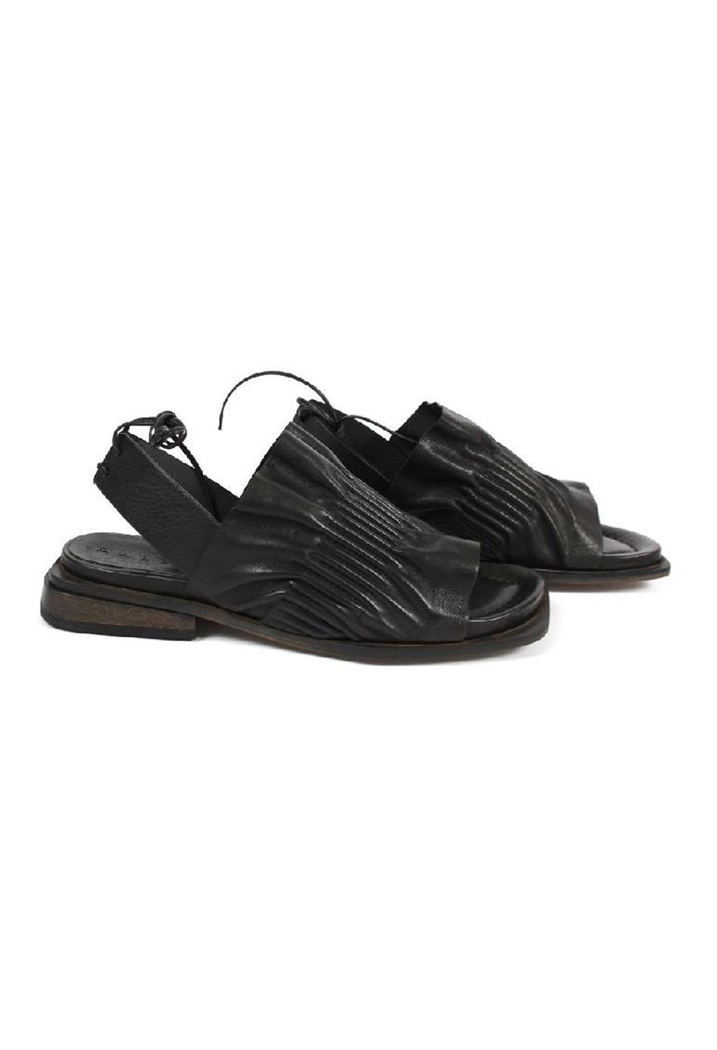 Pleated Tie Back Sandal in Nero