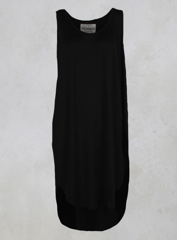 Kerkira Dress with Drop Hem at Back in Black