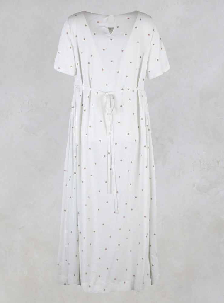 Long Dress with Polka Dot Print in Ivory/Beige