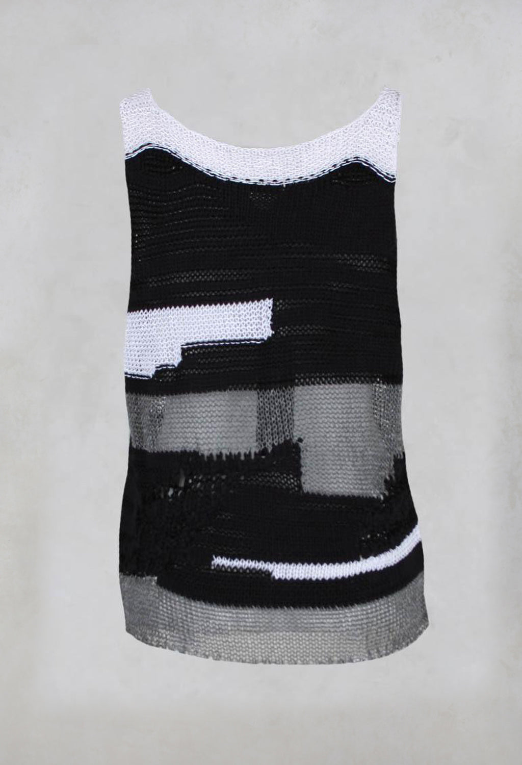 Sleeveless Knitted Crochet Vest in Black/White