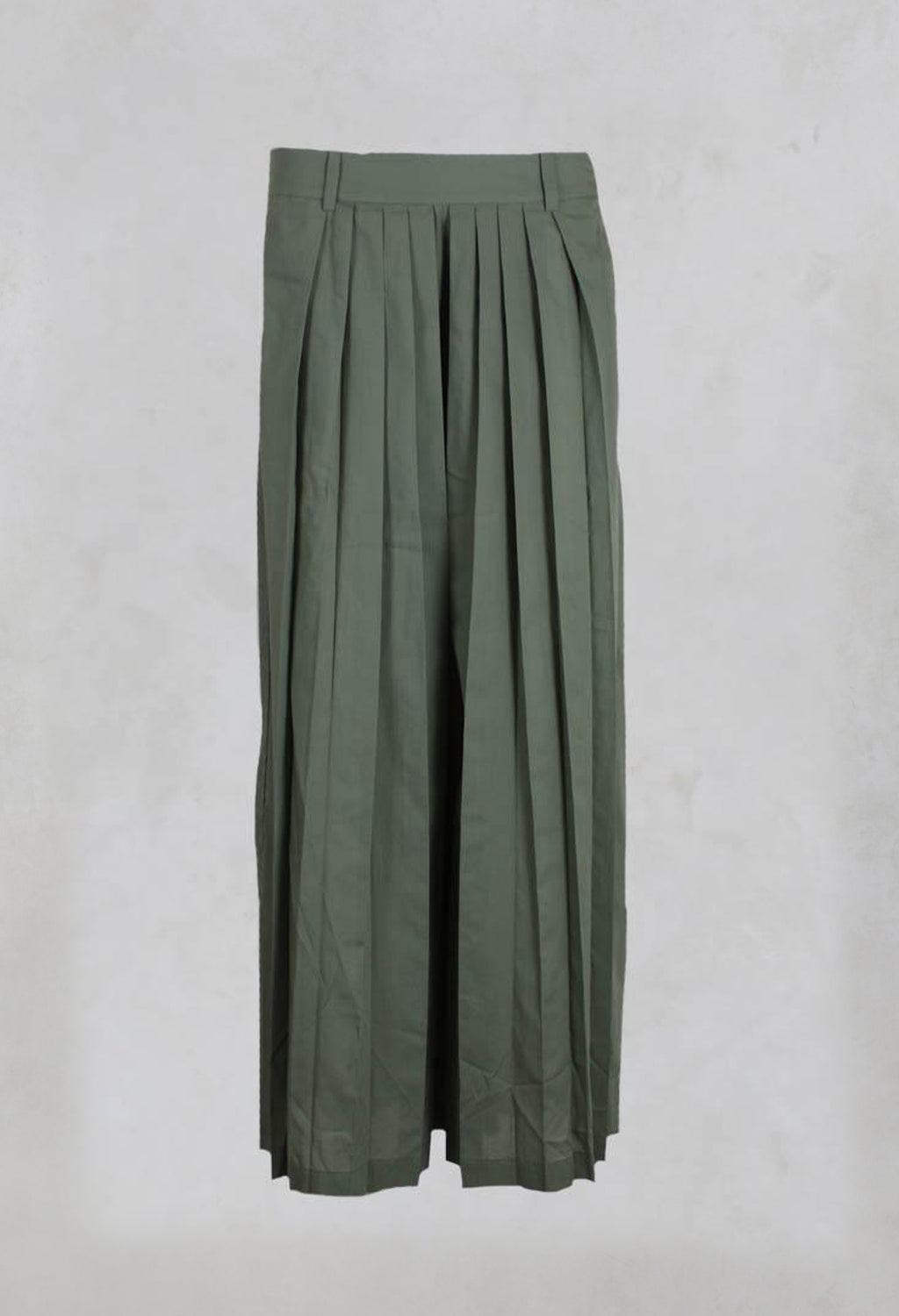 Lightweight Cotton Pleated Trousers in Salvia