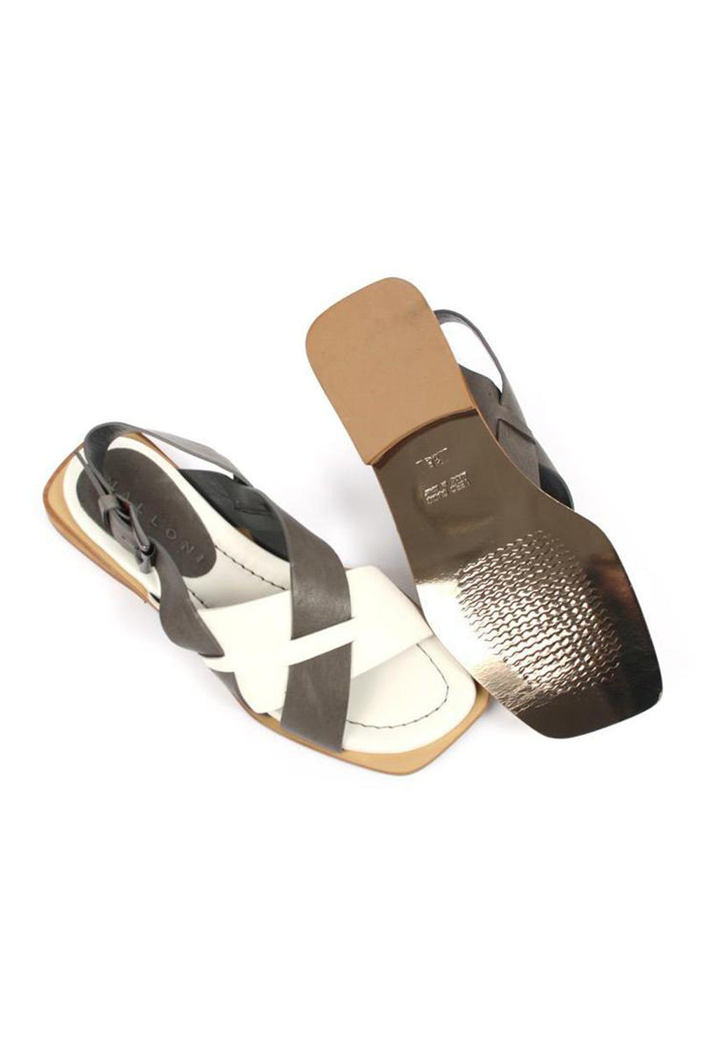Contrasting Cross Over Sandals in Latte/Piombo