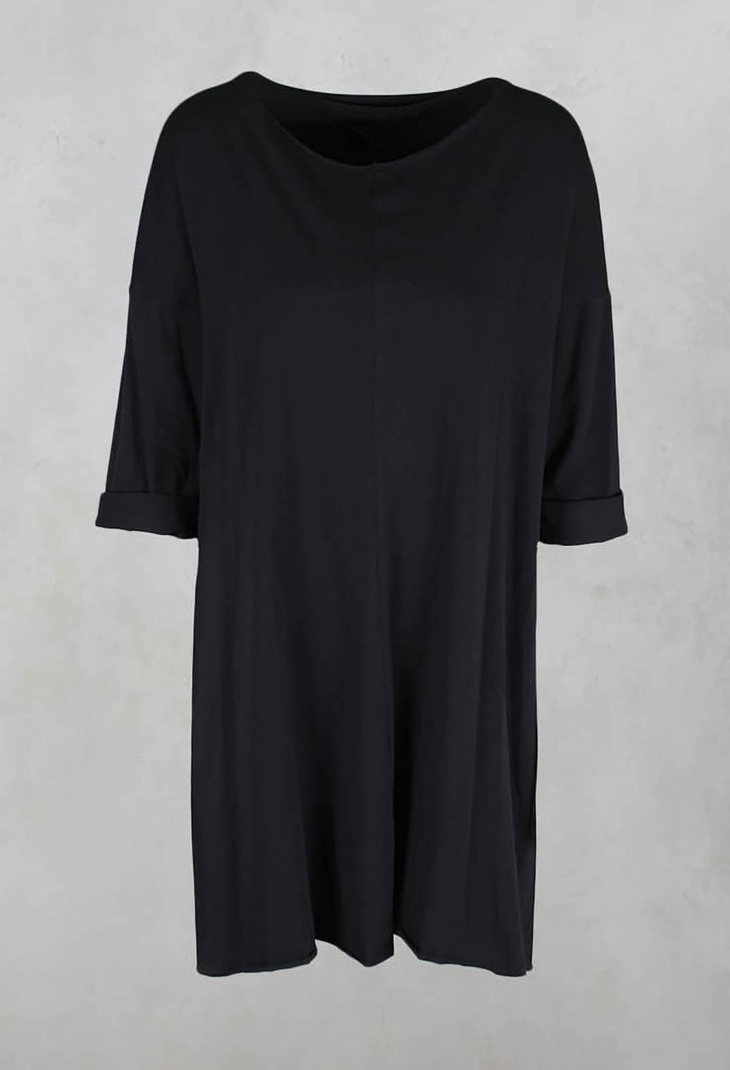 Loose Jersey Top with Open Back in Dark Charcoal