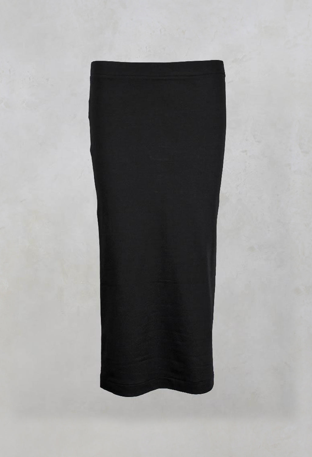 Plain Jersey Midi Skirt in Black
