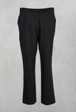 Cropped Button Detail Trousers in Black