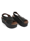 Chunky Cross Over Sandal in Vacchetta Nero