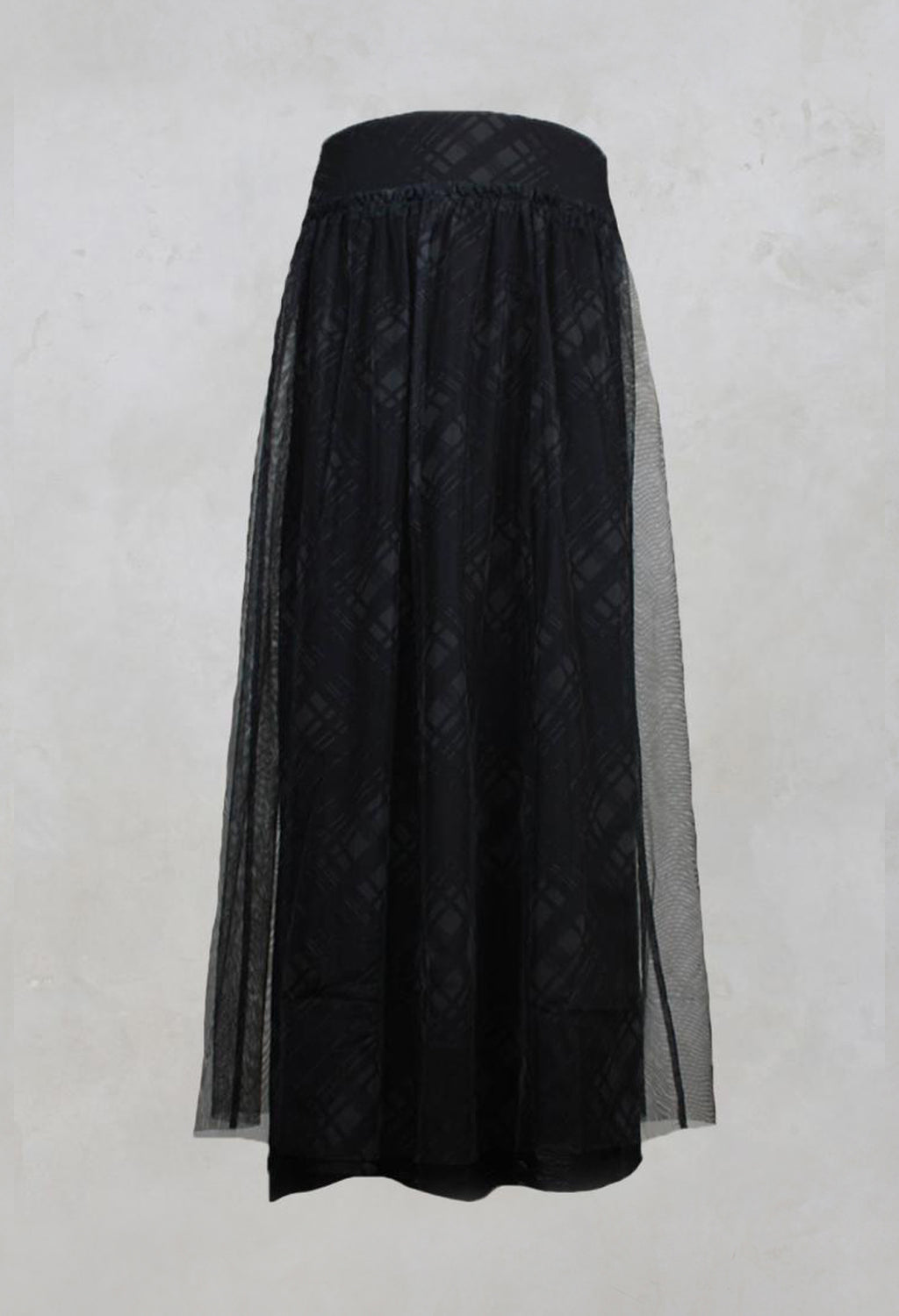 Fine Jersey Skirt with Net Overlay in inox