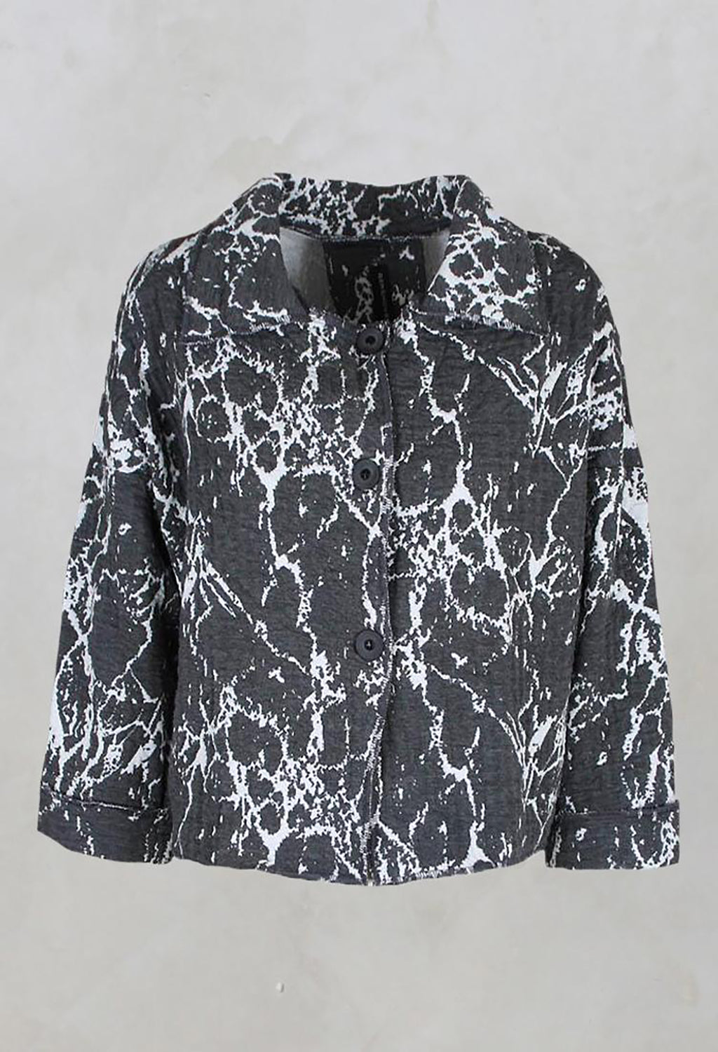 Cropped Box Jacket with Button Front in Grey Print