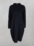 High Neck Dress with pockets in Navy