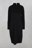 High Neck Dress with pockets in Black