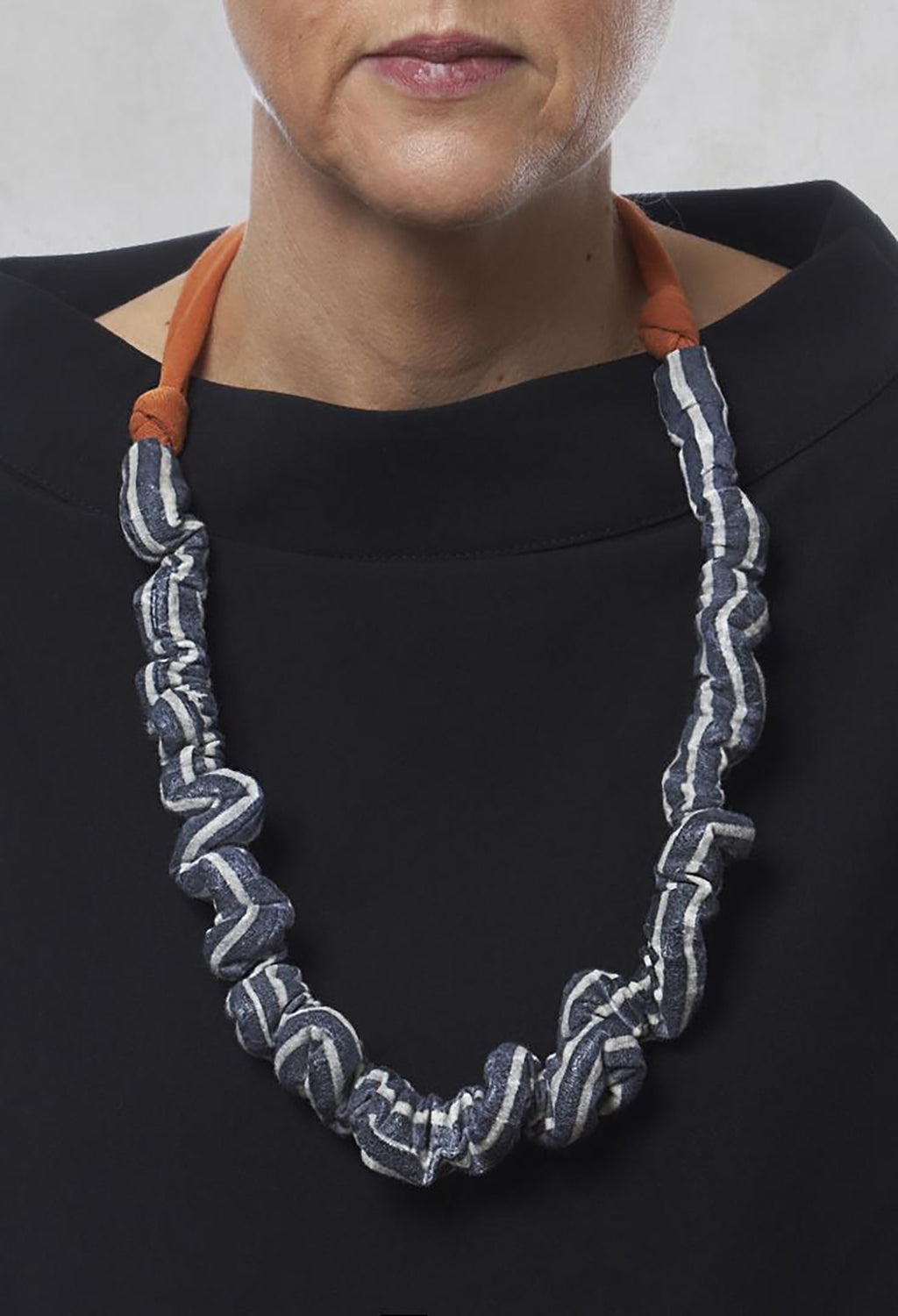 Ruched Effect Necklace in Orange/Stripe