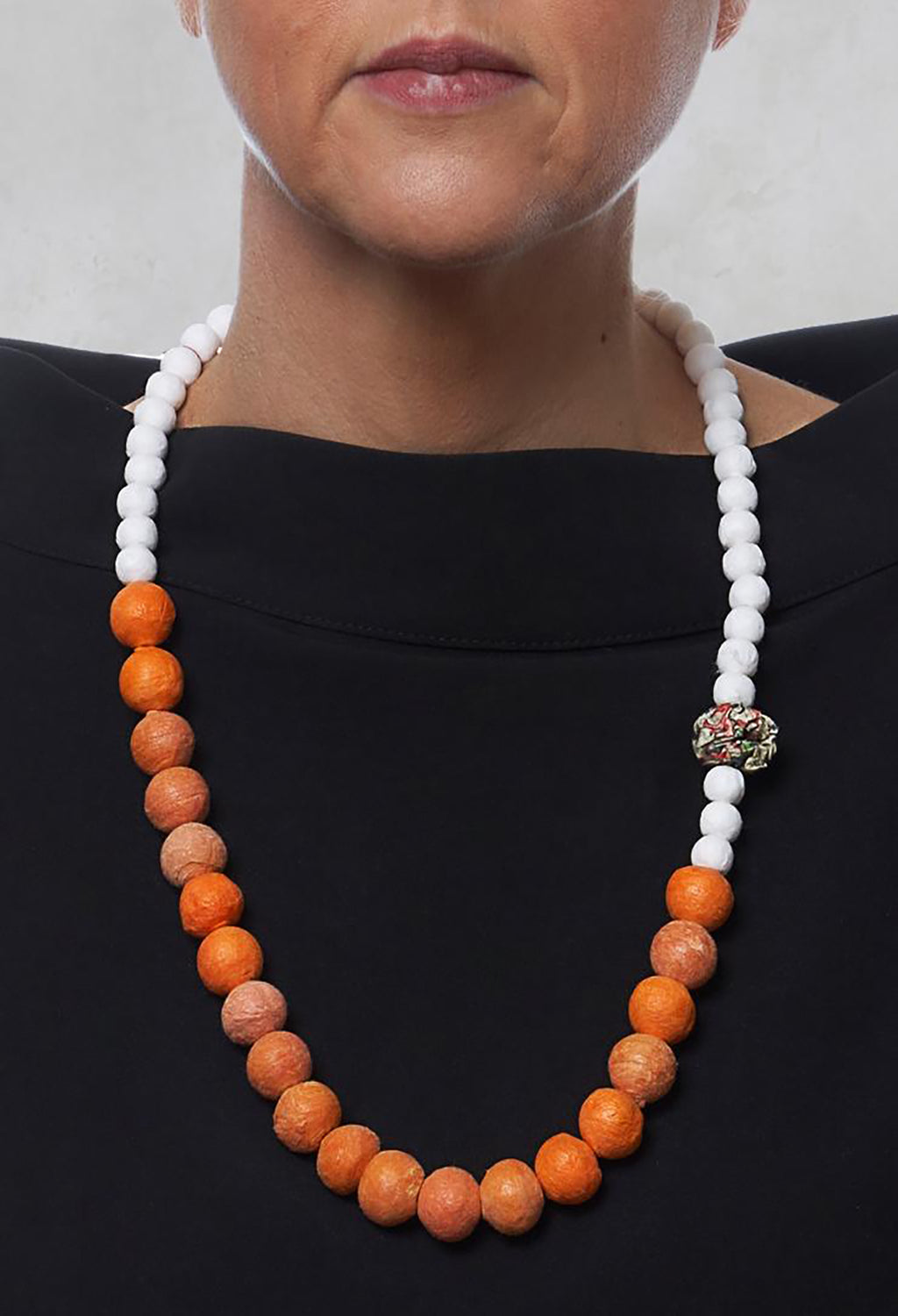 Beaded Necklace with Paper Mache Ball in Orange/White