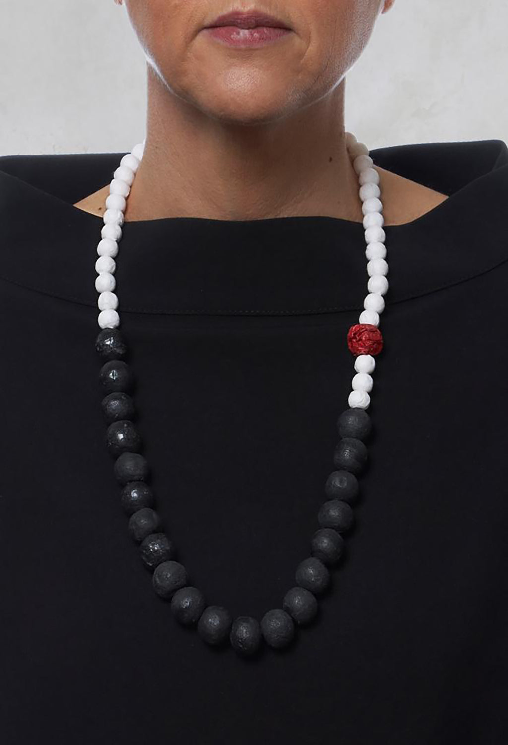 Beaded Necklace with Paper Mache Ball in Black/White