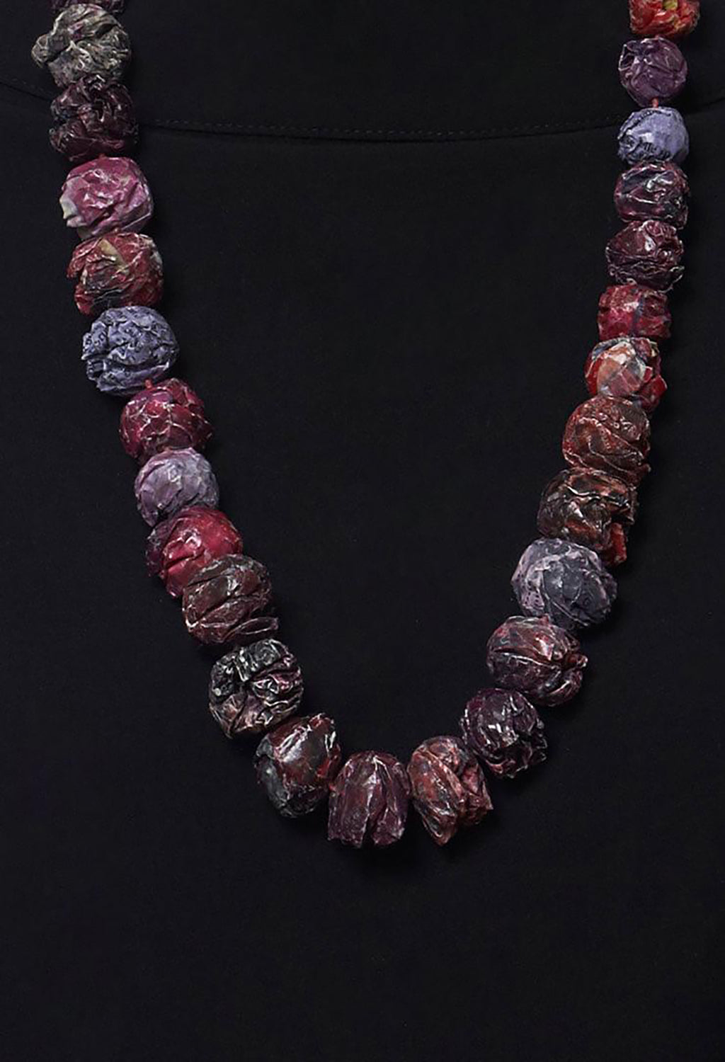 Paper Mache Beaded Necklace in Red Passion