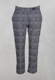 Cropped Pleated Trouser with Button in Check