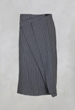 Skirt with Pleated Front in Stone Pinstripe
