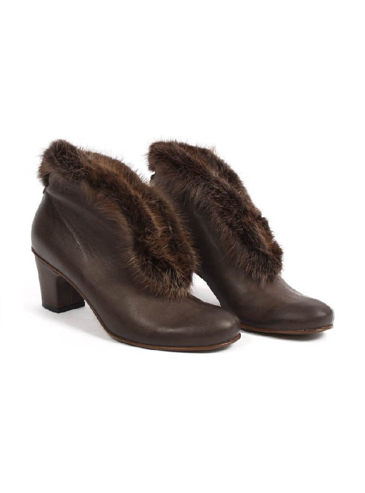 Slip On Heels with Fur Trim in Gasoline Piombo