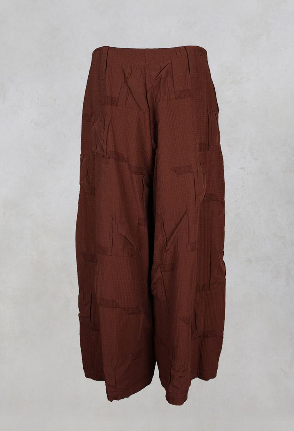 Wide Leg Textured Trousers in Rust