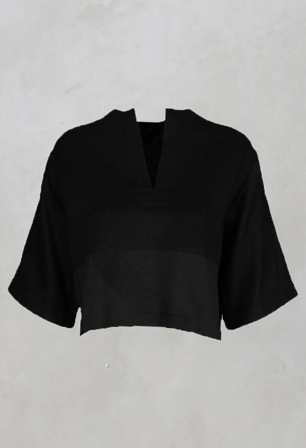 Cotton Pintuck Blouse in Black