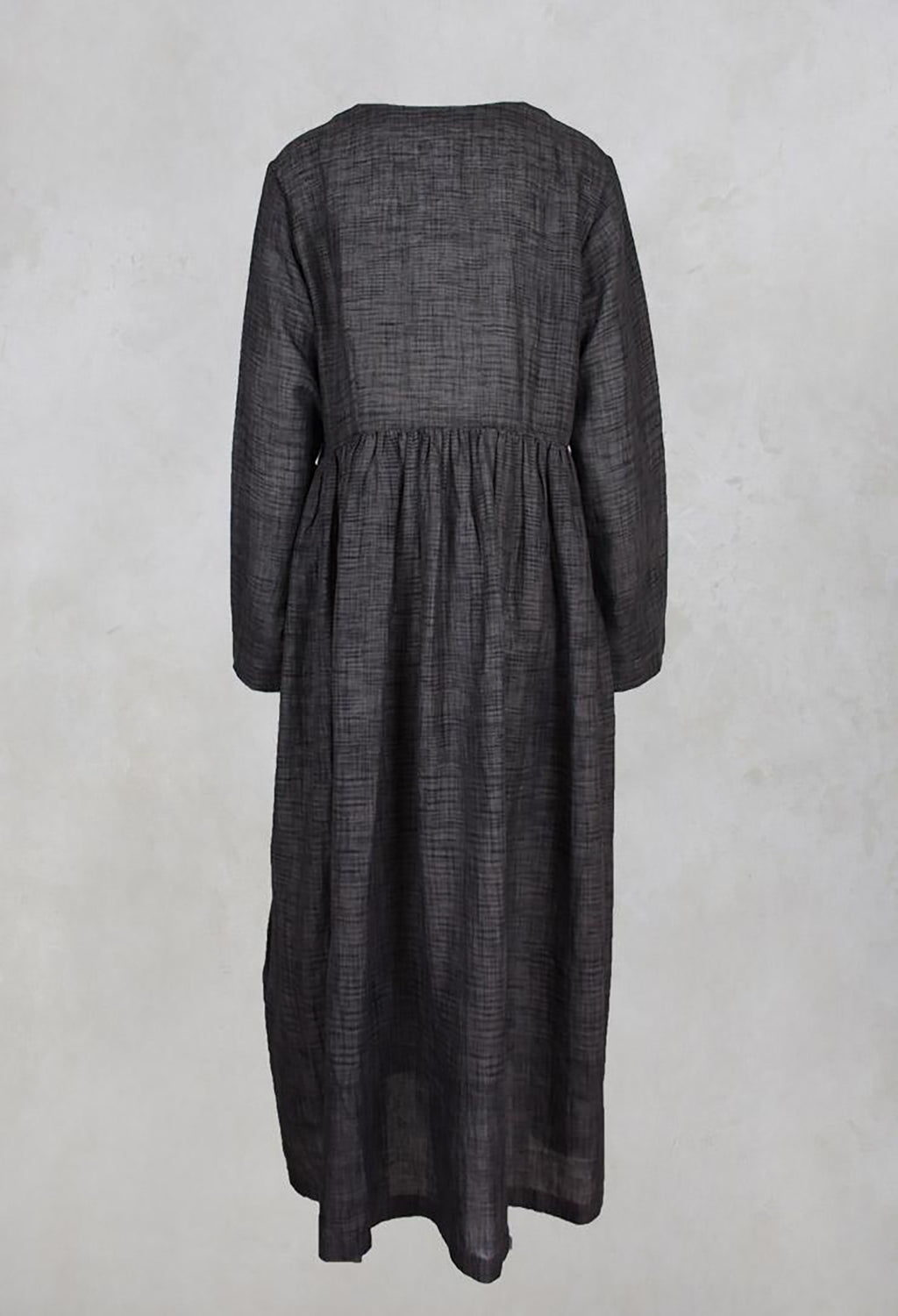 Gathered Cotton Ikkat Dress in Brown