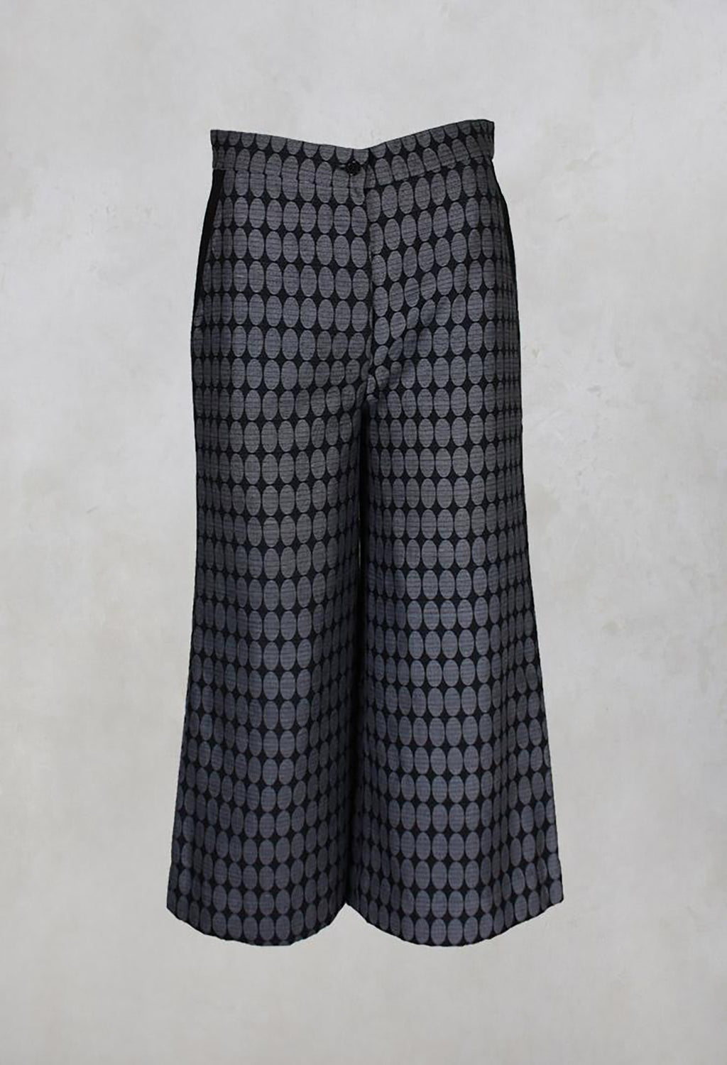 Circled Jacquard Cotton Culottes in Grey