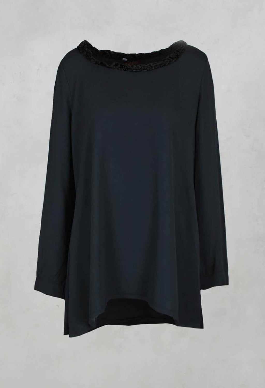 Loose Crepe Tunic with Velvet Patterned Trim in Flint