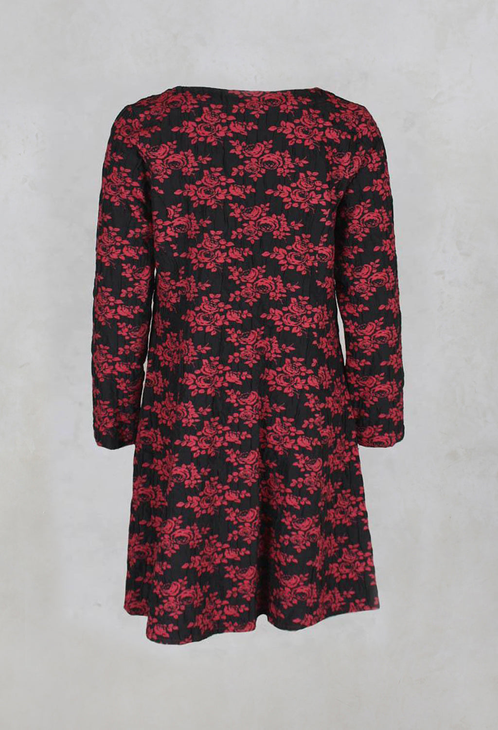 Floral Pattern Tunic Dress in Cherry