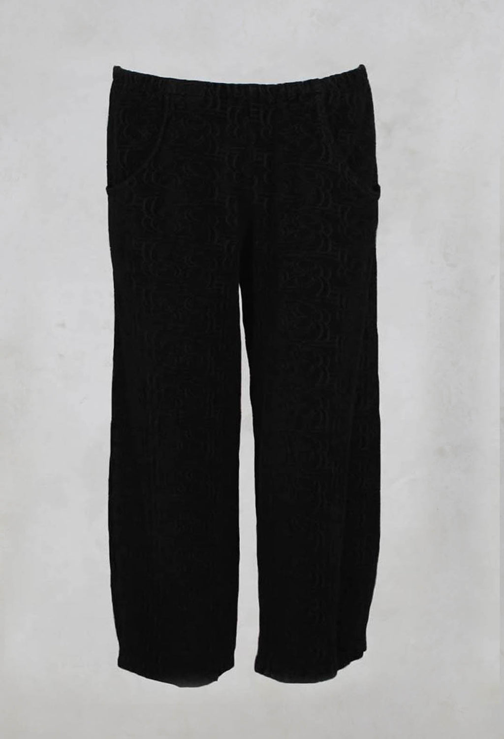 Cropped Trousers with Swirl Chenille Pattern in Black