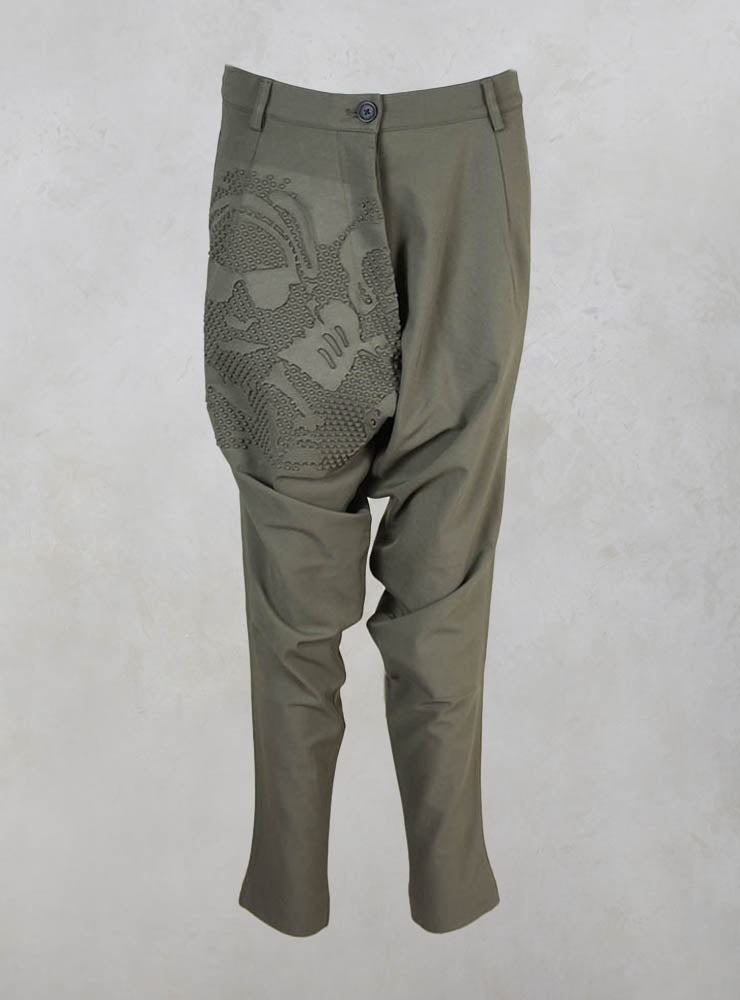 Twisted Leg Drop Crotch Trousers in Vert Print