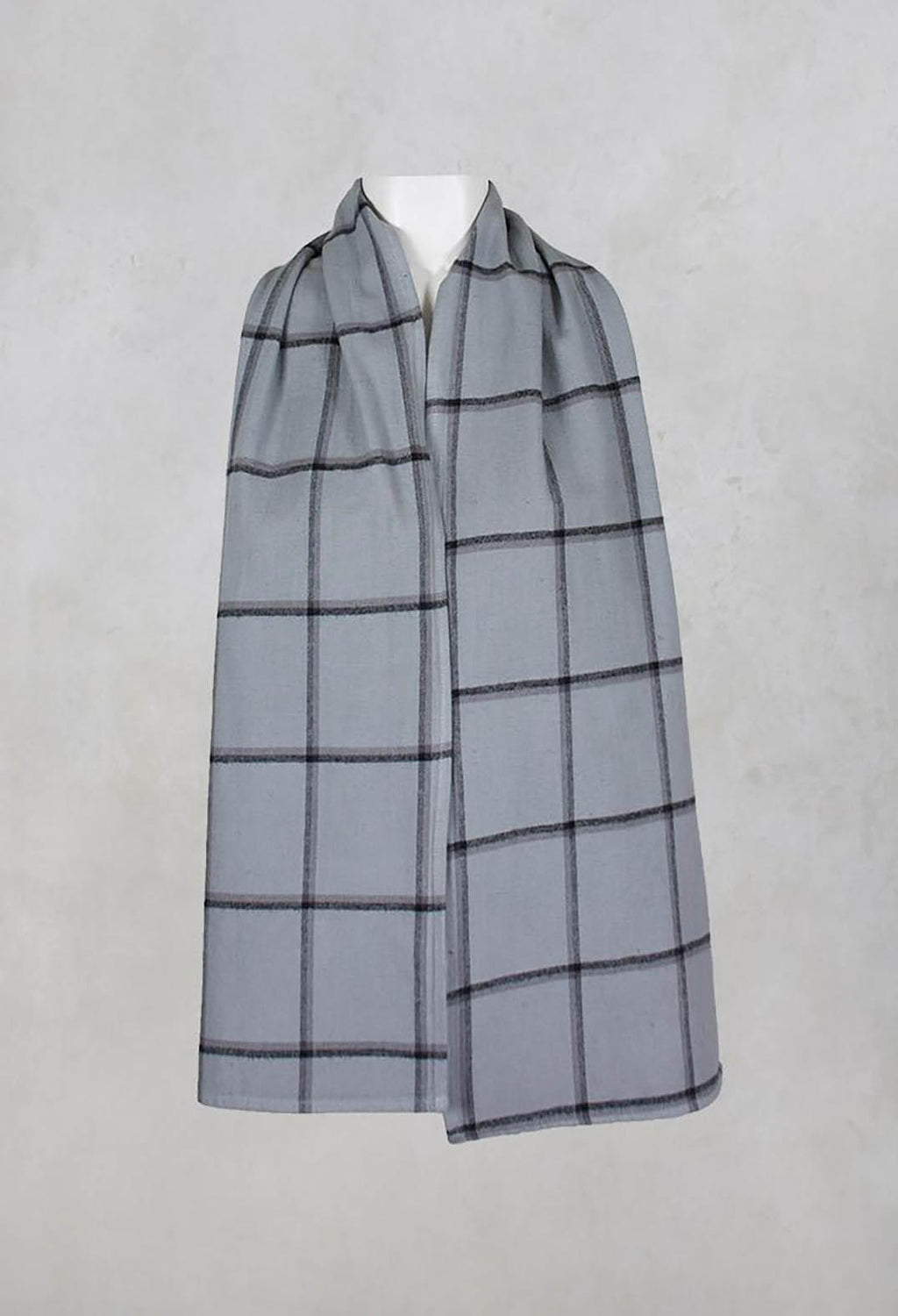 Cotton Wide Checked Scarf in Silver