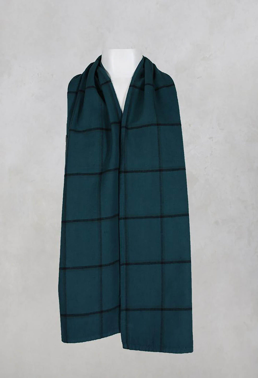 Cotton Wide Checked Scarf in Spruce