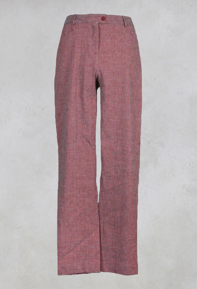 Straight Trousers with Button Front in Red