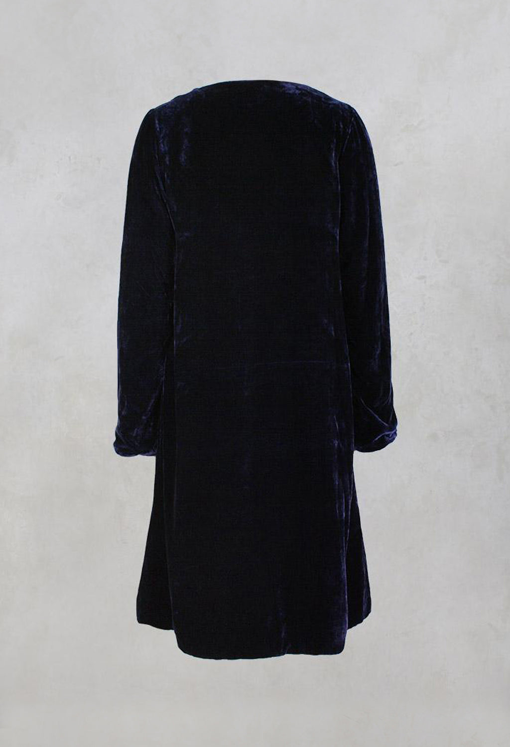 Long Sleeved Quilted Velvet Coat with Button Front in Blueberry