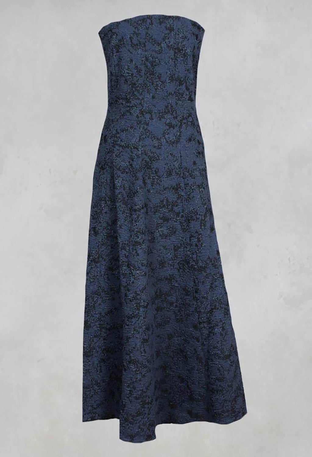 Strapless Dress with Textured Pattern and Flared Skirt in Ink