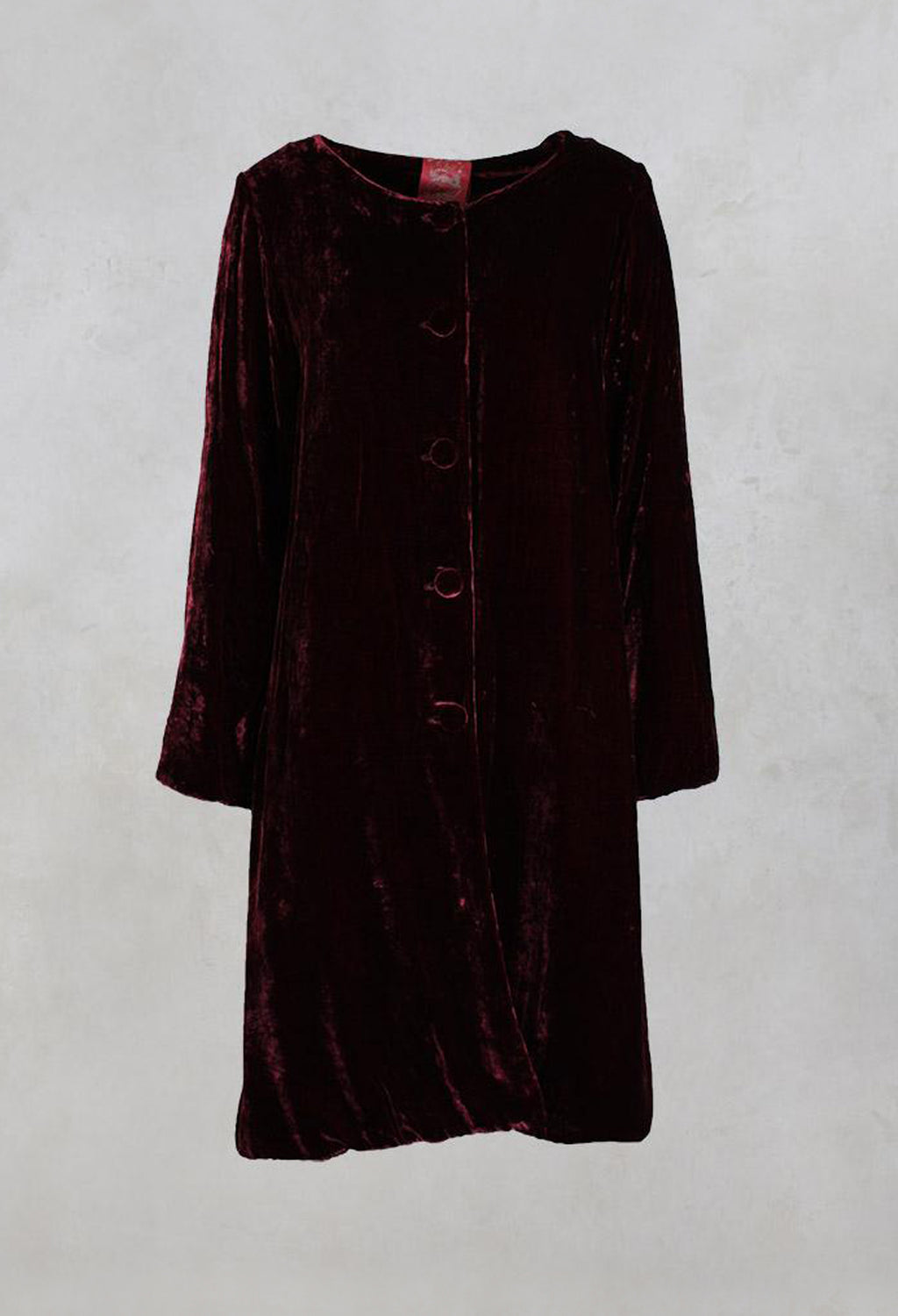 Long Sleeved Quilted Velvet Coat with Button Front in Port