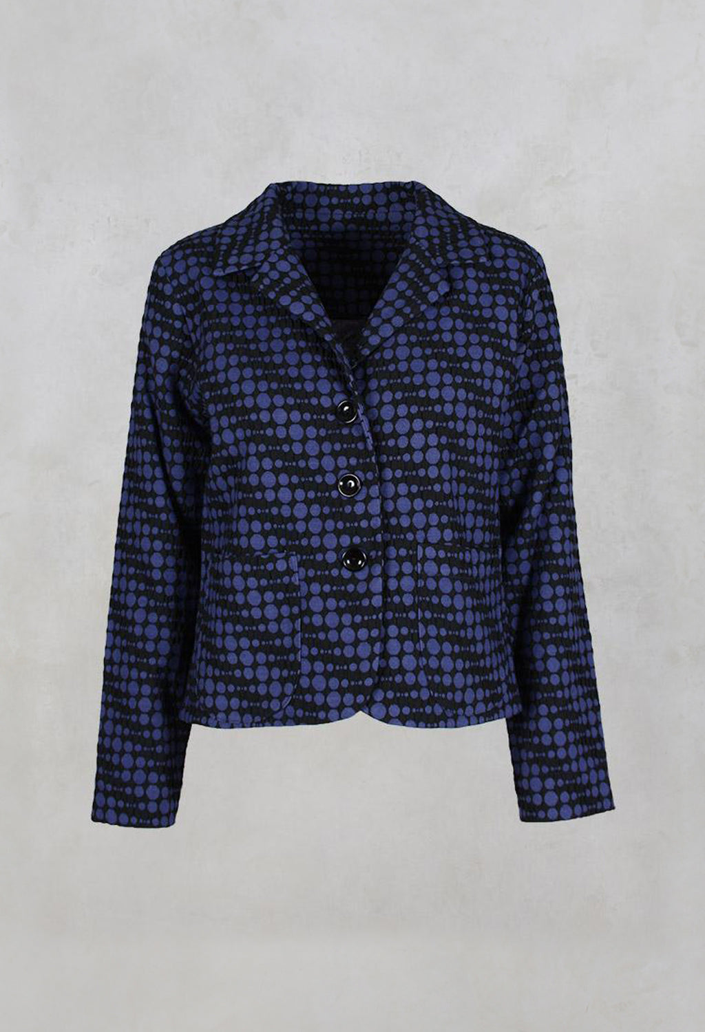 Spotty Jacquard Short Jacket with Button Front in Blueberry