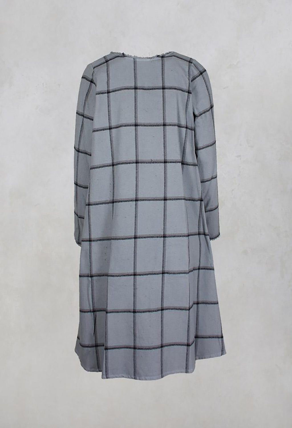 Long Sleeved Checked Dress with Pockets in Silver