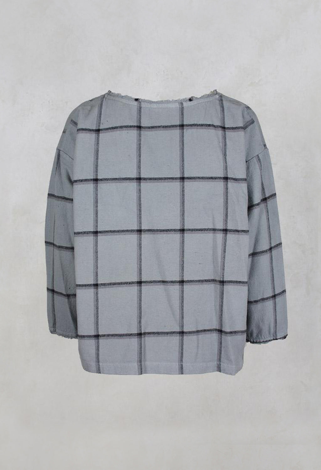 Wide Checked Top with Round Neck in Silver
