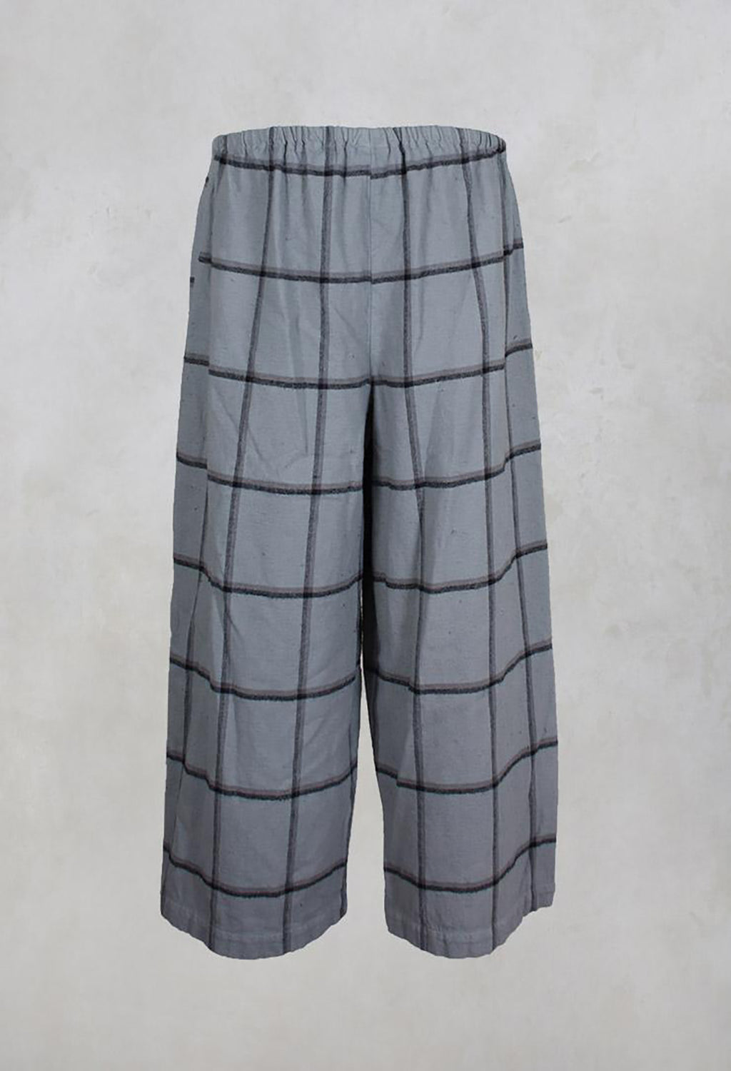 Cropped Wide Leg Checked Trousers in Silver