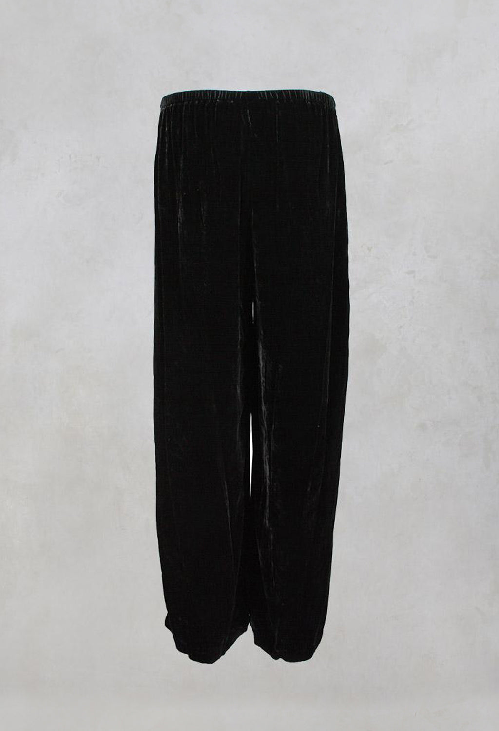 Wide Leg Trousers with Elasticated Waist Band in Black