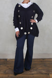 Long Wide Leg Trousers in Navy