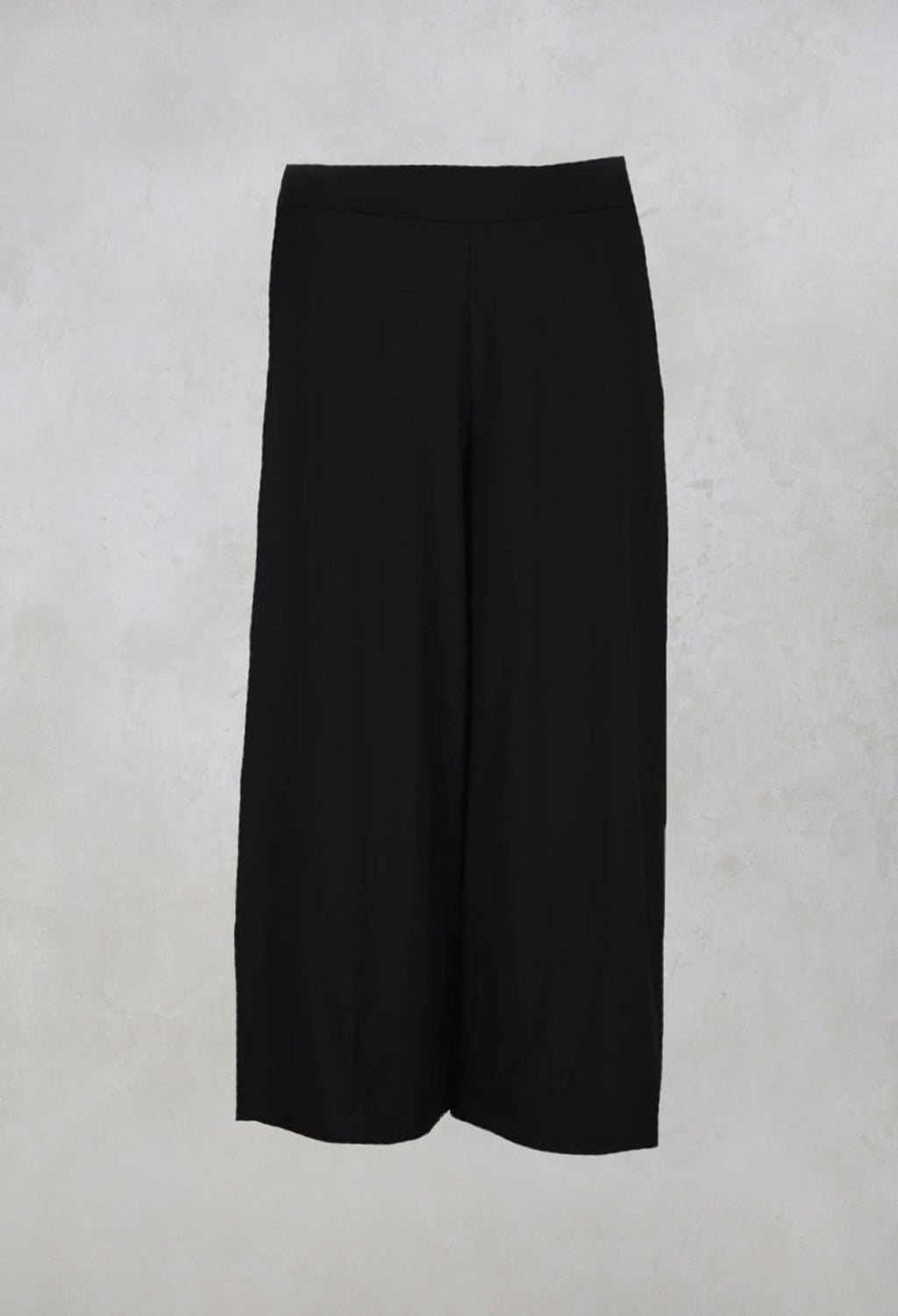 Wide Fit Trousers with Elasticated Waist in Black