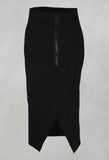 Pencil Skirt with Back Slit in Black